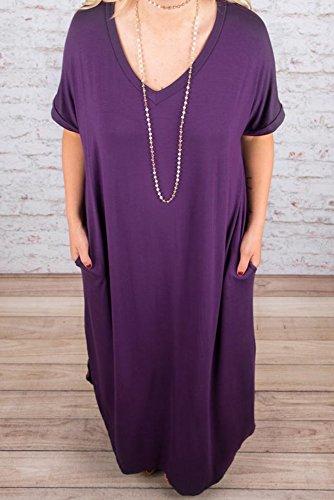 a27a20a16e9 Rotita Womens Plus Size Short Sleeve V Neck Dress Casual Pregnant Loose  Maxi Dresses (5X