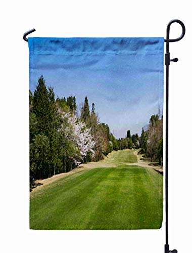 (Musesh 12x18 House Yard Flag,Cherry Blossoms Pink Sakura Flowers are Full Bloom Golf Course Chiba Japan is a Sport Play Turf for Home Outdoor Decorative with Double-Sided Printing)