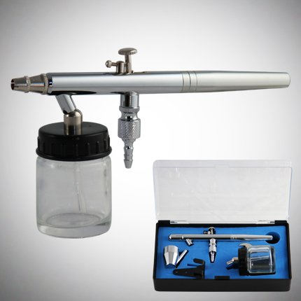 GotHobby 0.35mm Siphon Feed Dual-Action Airbrush Spray Paint Gun Kit Set