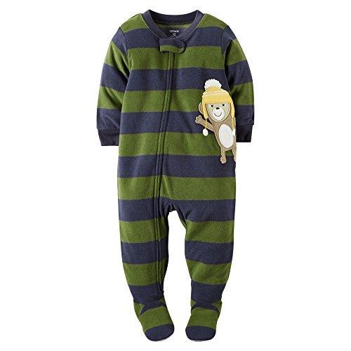 Carter's Baby Boys' One Piece Footed Fleece Pajamas (24 Months, Striped Monkey Hat) (Pajama Fleece Striped)