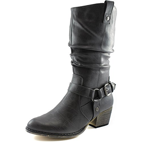 DailyShoes Women's Slouch Mid Calf Ankle Strap Buckle Western-01 Style Cowboy Boots, (Slouch Buckle Boots)