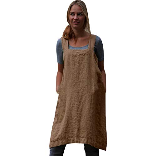 (NRUTUP-Women New Linen Pinafore, Apron Square Cross Linen Garden Work Pinafore Apron Dress Japanese Style Khaki)