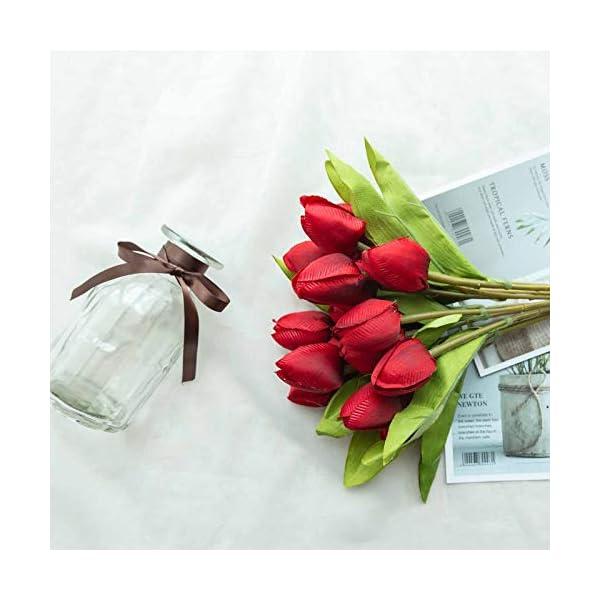 Tulips 108 Silk Artificial Wedding Flowers Bouquets Arrangements Centerpieces (Red)