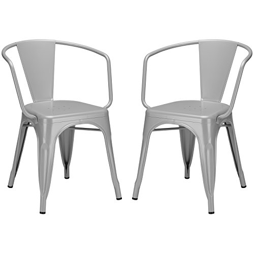 Poly and Bark Trattoria Arm Chair in Grey (Set of 2) by POLY & BARK