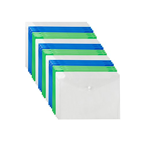 Plastic Document Folders - 30-Pack Envelope Folders for Letter Size and A4 Documents, Transparent Water Resistant Paper Organizers with Snap button for Filing, Office, 12.5 x 9 Inches, Assorted Colors