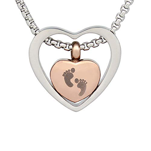 (Double Heart Cremation Necklace Memorial Urn Pendant Keepsake Jewelry Urns Angel Necklace Gift for Mom (Baby))