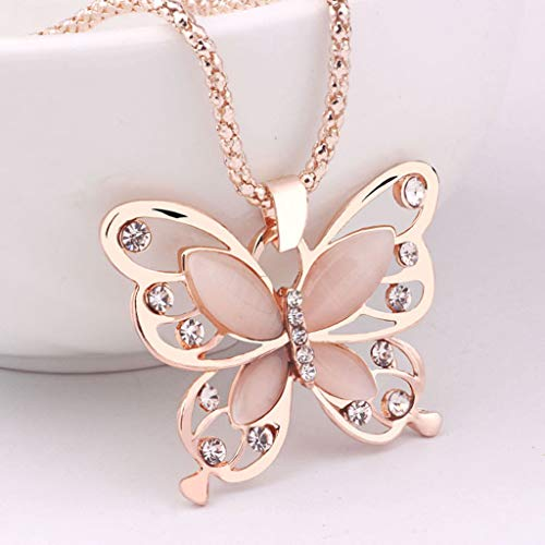 (Necklace,Onefa Fashion Women Rose Gold Opal Butterfly Charm Pendant Long Chain Necklace Jewelry)