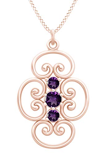 AFFY Round Cut Simulated Amethyst Three Stone Filigree Lace Pendant Necklace in 14k Rose Gold Over Sterling Silver
