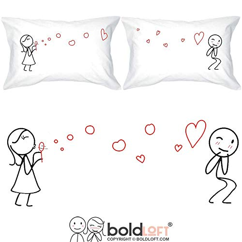 BoldLoft from My Heart to Yours Too Couple Pillowcases-Couples Gifts for Anniversary Boyfriend Husband Fiance Wedding Engagement Valentines Day Long Distance Relationships Thinking of You Dating (Good Valentines Day Gifts For Long Distance Relationships)