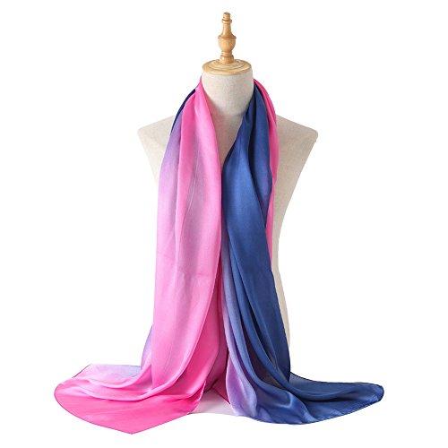 (Bellonesc Silk Scarf 100% silk Long Lightweight Sunscreen Shawls for Women (rose red-blue))