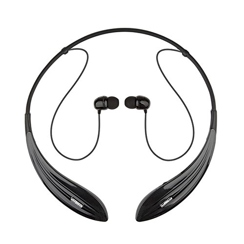 Ecandy Bluetooth Headphones Wireless Neckband Headset Stereo Noise Cancelling Earbuds w/ Mic ,Black
