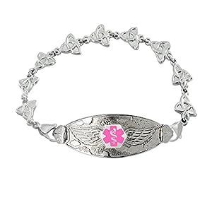 Divoti Custom Engraved Angel Wing Medical Alert Bracelet -Trinity Knot -Pink