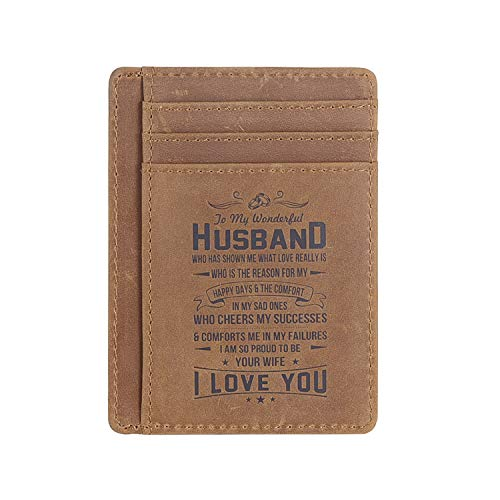 Leather Slim Wallet for Son Daughter, Husband Gifts from Wife, RFID Blocking Minimalist Front Pocket Wallet (Gift for husband from WIFE)