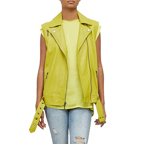 Gunmetal Leather Vest (Kenneth Cole Women's Washed Bright Green Moto Vest, Canary, M)