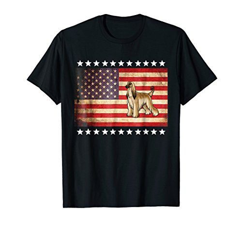 Vintage American Flag Afghan Hound T-Shirt ()