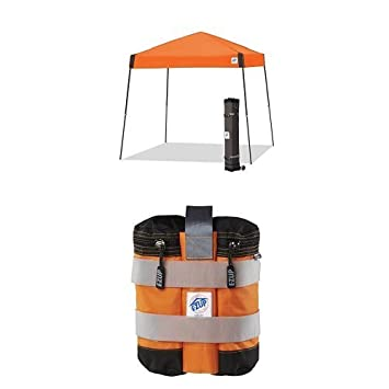 E-Z UP Vista Instant Shelter Canopy, 10 by 10 , Steel Orange with 4 deluxe weight bags