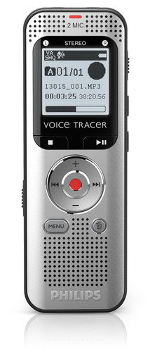 Philips DVT2000 Voice Tracer Digital Recorder - 1.30'' - Silver/black