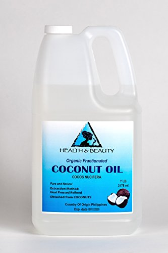 Coconut Oil Fractionated MCT Organic Carrier Ultra Refined Premium 100% Pure 128 oz, 7 LB, 1 gal