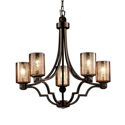 Justice Design Group Fusion 5-Light Chandelier - Dark Bronze Finish with Mercury Glass Artisan Glass Shade