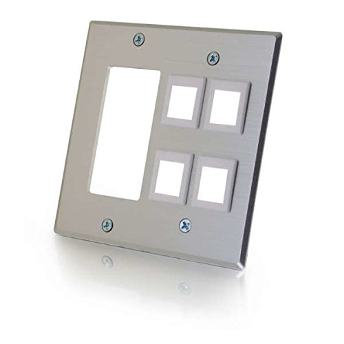 C2G/Cables To Go 41340 Double Gang Decorative Cutout Wall plate with 4 keystones - Aluminum