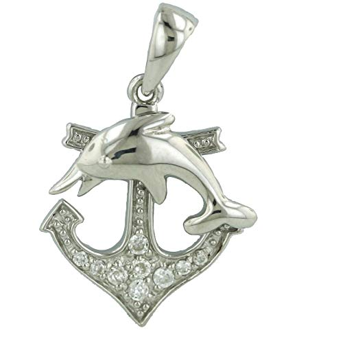 925 Solid Sterling Silver Cubic Zirconia Anchor & Dolphin Charm / Pendant for Necklace or Bracelet  ()