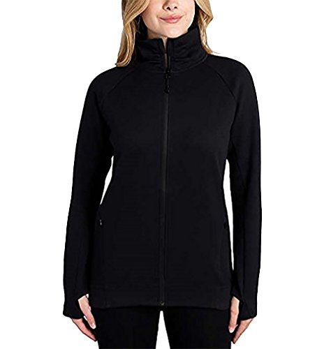(Kirkland Signature Ladies Full Zip Jacket (Black, Large))
