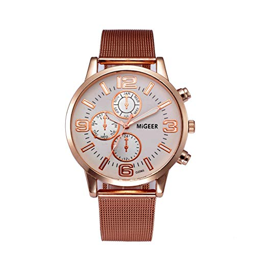 Unisex Rose Gold Classic Quartz Wrist Watches Men Casual Watch with Steel Milanese Mesh Band by ()