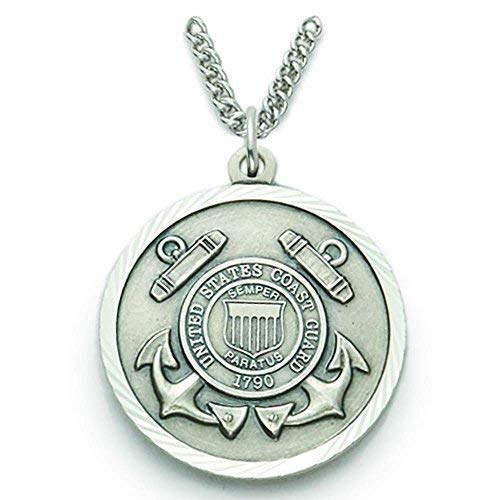 TrueFaithJewelry Sterling Silver United States Coast Guard Medal with Saint Michael Back, 7/8 Inch
