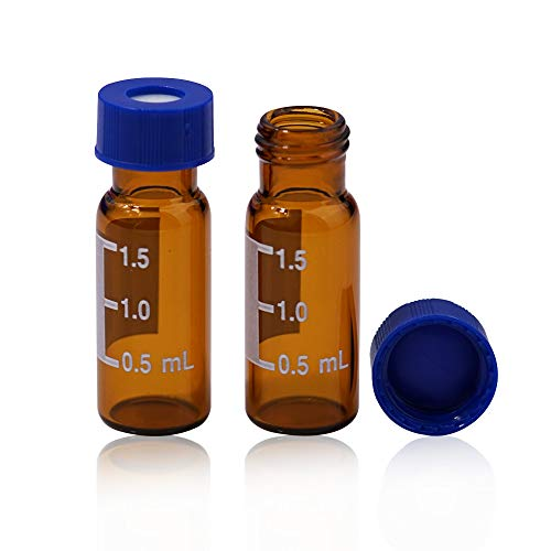 Membrane Solutions Autosampler Vials, Lab Supply Sample Vials 2ml with Write-on Spot and Graduations 9-425 Type Threaded Vial and 9mm Blue ABS Screw Caps & Septa, Amber, Case of 100