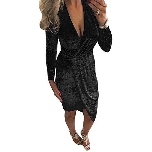 Broadroot inverno donne irregolare benda Bodycon in velluto con scollo a V abito (nero) (XL)