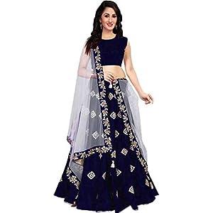 Aayan export Women's Cotton & Silk Semi-stitched Lehenga Choli (blue12_Blue_Free Size)