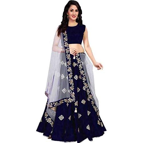 41lUKvRcamL. SS500  - Aayan export Women's Silk Embroidered Semi-Stitched Lehenga Choli and Dupatta Set (Blue, Free Size)