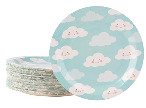 Cloud Plates - 80-Pack Disposable Sky Blue Paper Plates, 9-Inch Round Cake Plates, Dessert, Appetizer, Kids Birthday Party Supplies