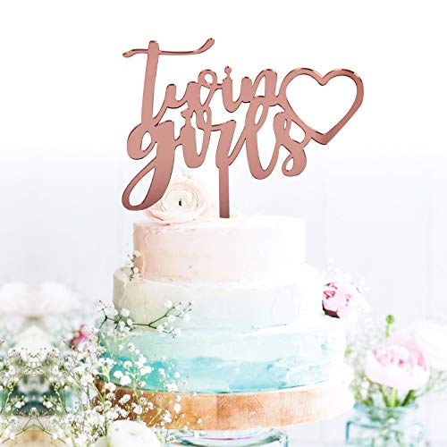 GrantParty Rose Gold Twin Girls Cake Topper for Anniversary Birthday Baby Shower Party Decoration Supplies| Perfect Keepsake (Rose Gold)