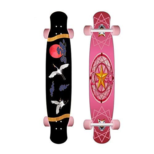 Natural Bamboo Longboard Complete Skateboard for Cruising, Carving, Free-Style, Downhill and Dancing - Boys Girls Youths Beginners