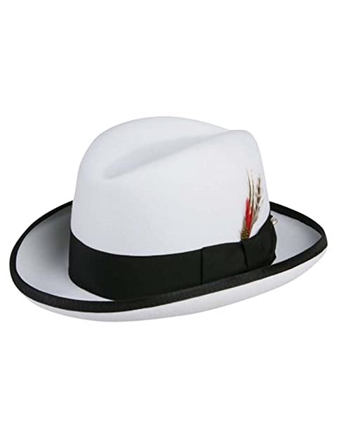 5535be97b67271 Godfather Homburg Fedora Hat in White with Black Band