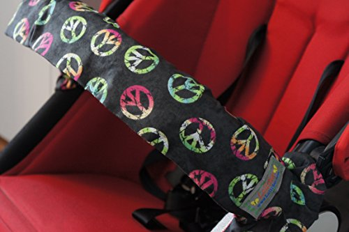 """Lollibar Stroller Safety Handlebar Cover in Pattern """"Peace All Around"""" Black Background with Multi-Colored Peace Sign"""