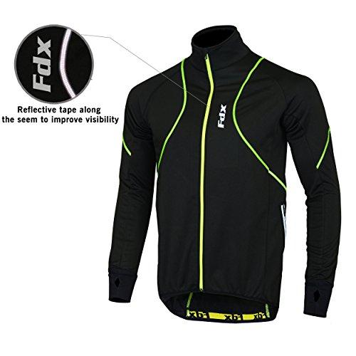 FDX Herren Performance Fahrradjacke Wind Stopper Thermo Winter Running Hi Viz mehrfarbig schwarz / gelb xl