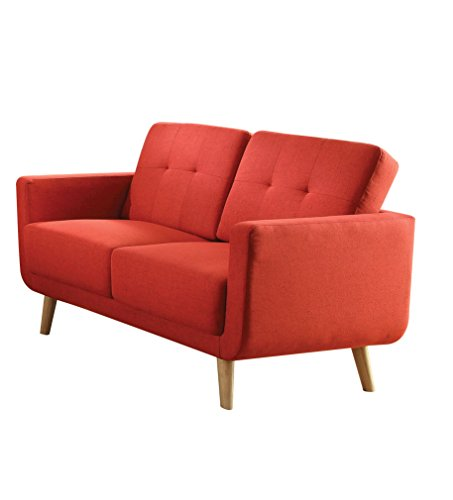 Acme Furniture 52661 Sisilla Loveseat, Red Linen
