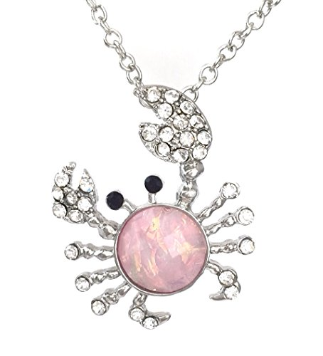Gypsy Jewels Iridescent Foil Crab Rhinestone Silver Tone Small Dainty Necklace ()