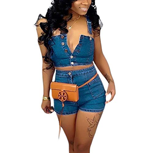 acelyn Women's Denim Shorts Set Bodycon Tank Crop Tops + Short Pants 2 Piece Jean Rompers Outfits Blue Small