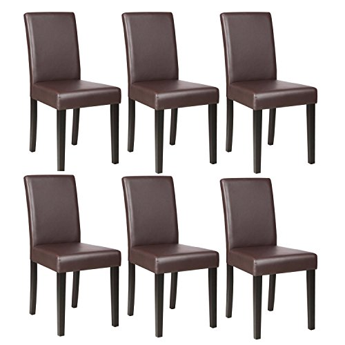 Mecor Dining Chairs Set of 6,Kitchen Leather Chair with Solid Wood Legs Leather Padded Dining Room Furniture Brown