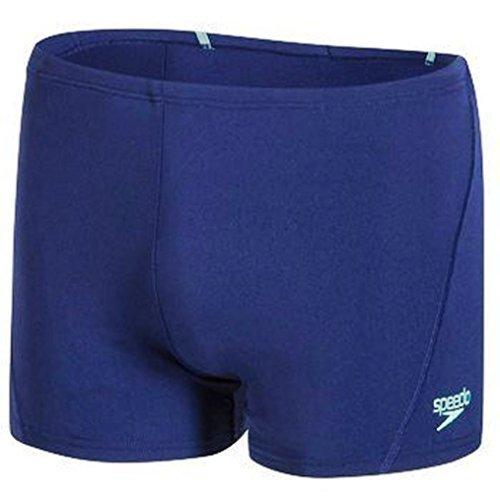 Speedo Men's Endurance+ Polyester Solid Square Leg Swimsuit for Men (Navy/Jade, 32) by Yogi Sports by Speedo