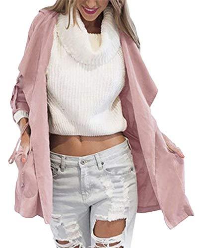 Coupe Trench Casual Gaine Costume lgant Longues Pink Manche Bandage Femme Vent Confort A Avant Manches Parka Poches Capuche Bowknot Uni Automne Mode wIvaZUxBqf