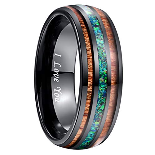 NUNCAD Marine Opal Tungsten Wedding Ring with Hawaiian Koa Wood Inlay Domed Black Size 9 ()