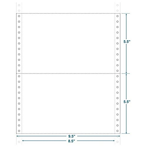 9-1/2'' x 5-1/2'' (W x H) Continuous 20# Computer Paper, Blank (Carton of 4800)