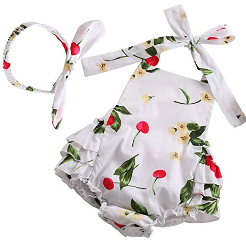 (PrinceSasa Cute Newborn Girl Clothes Rompers White Infant Dress,white5,7-12 Months(Size M))