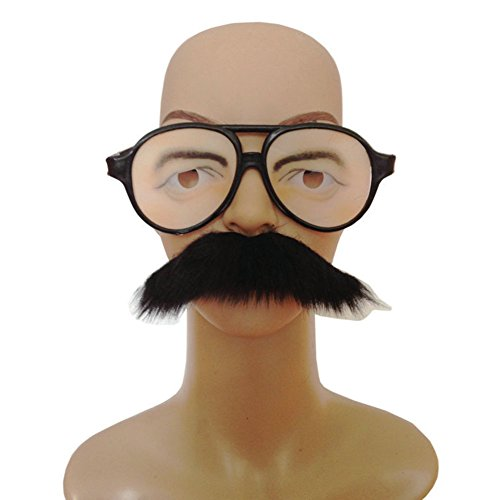 Funny Eyes Glasses,Disguise Novelty Glasses with Mustache No Nose Mask Props ()