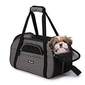"Jespet Soft Pet Carrier for Small Dogs, Cats, Puppy, 17"" Airline Approved Portable Carrier Bag for Airline, Train, Car Travel, Smoke Gray 115"