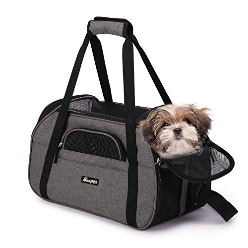 JESPET Soft Pet Carrier for Small Dogs, Cats, Puppy, Airline Approved Pet Carrier for Airline, Train, Car Travel, Grey, 17' x 9' x 11.5'